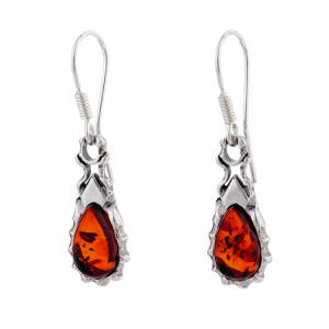Amber and Silver Earrings