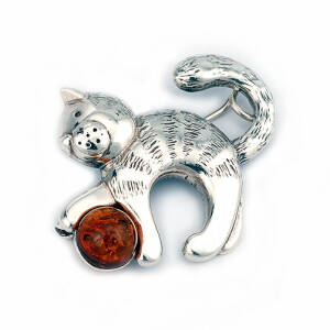 Cat With a Ball Brooch